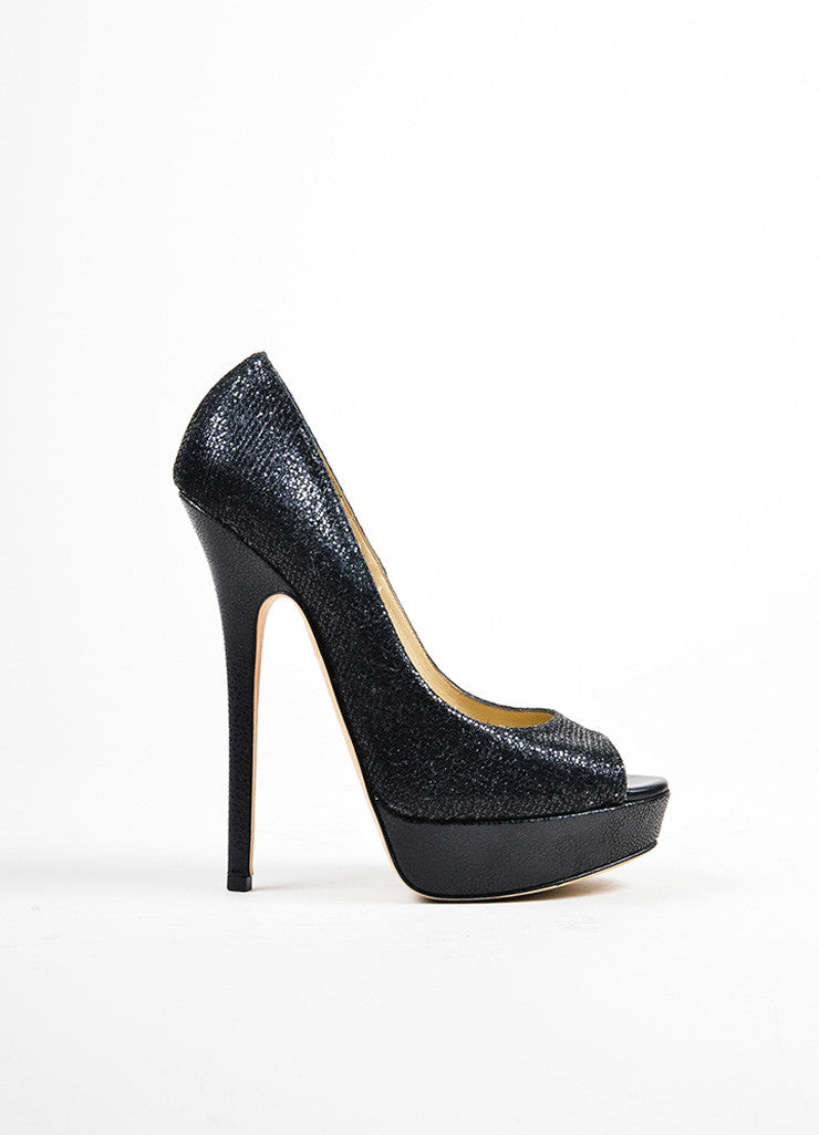 "Black Jimmy Choo Glitter Peep Toe High Heel Platform ""Vibe"" Pumps Sideview"
