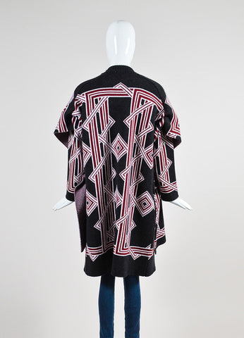 Black, Red, and White Kenzo Wool Geometric Knit Cardigan Sweater Coat Backview
