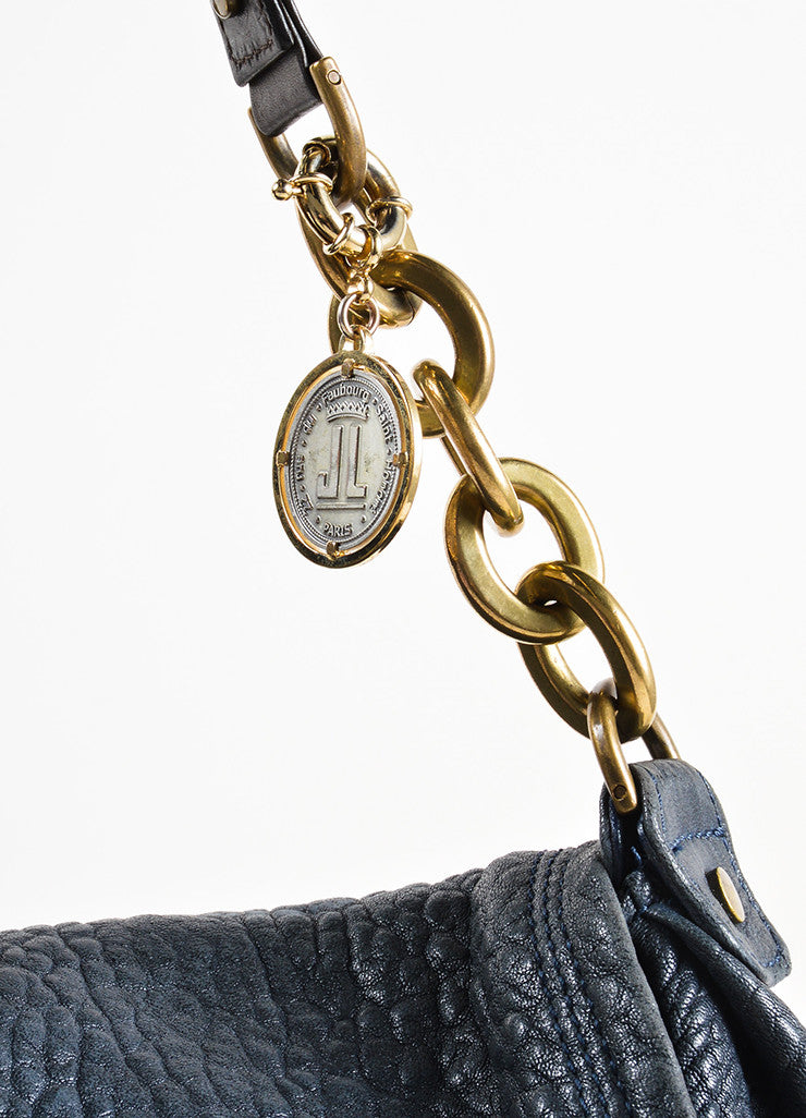 Lanvin Navy Blue Pebbled Leather Chain Strap Flap Shoulder Bag Detail 2