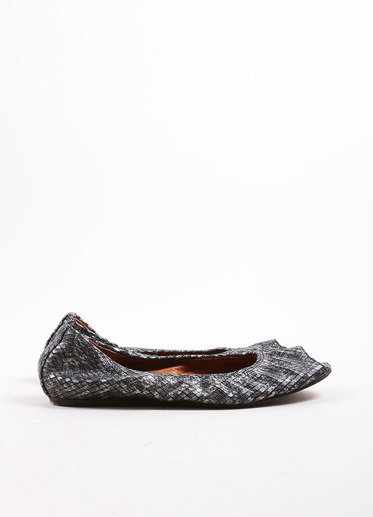Lanvin Grey Metallic Leather Peep Toe Flats Sideview