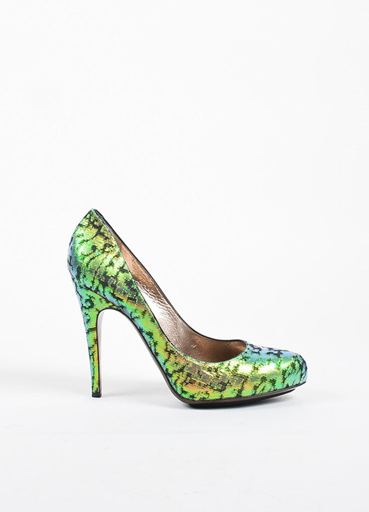 Green Lanvin Iridescent Brocade Pointed Toe Platform Pumps Sideview