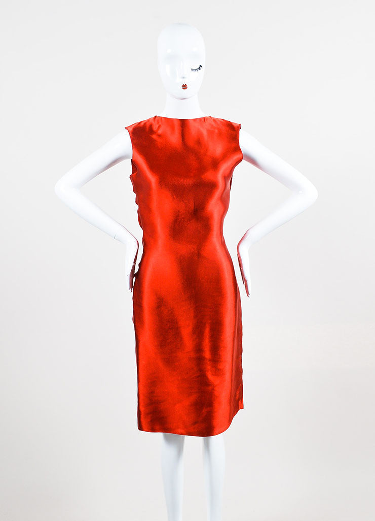 Lanvin Red Sateen Bow Draped Sleeveless Dress Frontview