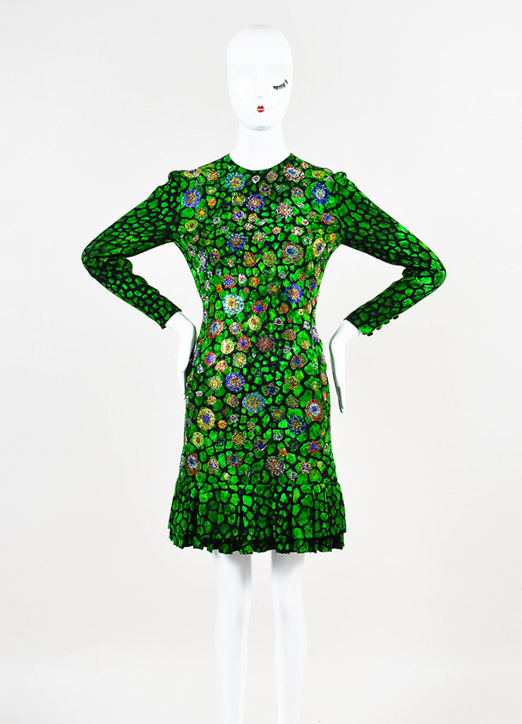 Libertine Green and Black Animal Print Rhinestone Pleated Hem Long Sleeve Dress Frontview