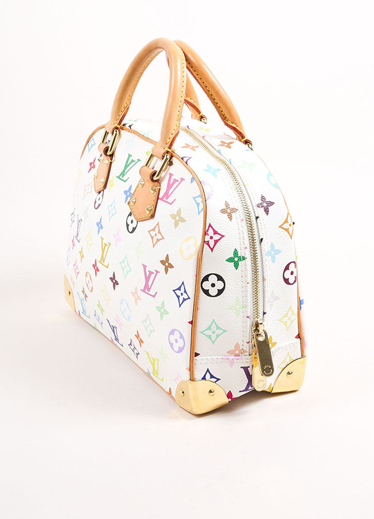 "Louis Vuitton White and Multicolor Monogram Canvas ""Trouville"" Satchel Bag Sideview"