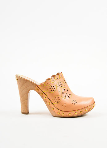 Beige Louis Vuitton Leather Eyelet and Top Stitch Clogs Side