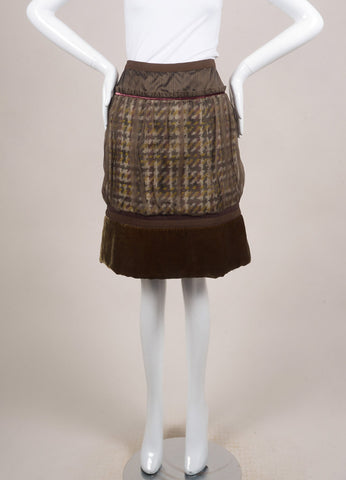 Louis Vuitton Brown and Green Chiffon Woven Knit Velvet Trim Pleated Skirt Frontview
