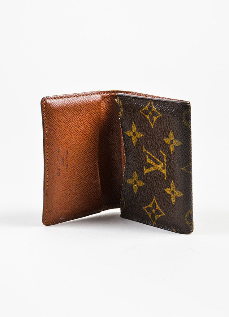"Louis Vuitton Brown Monogram Canvas ""Business Card Holder"" Interior"