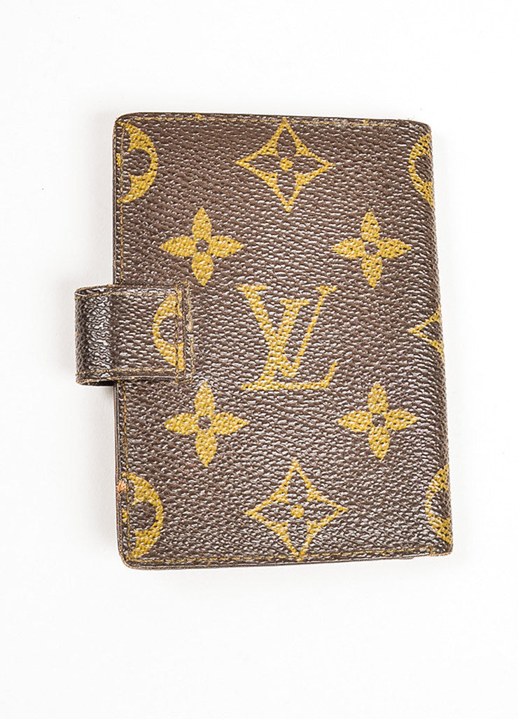 Louis Vuitton Brown and Tan Coated Canvas Monogram Snap Card Holder Wallet Backview