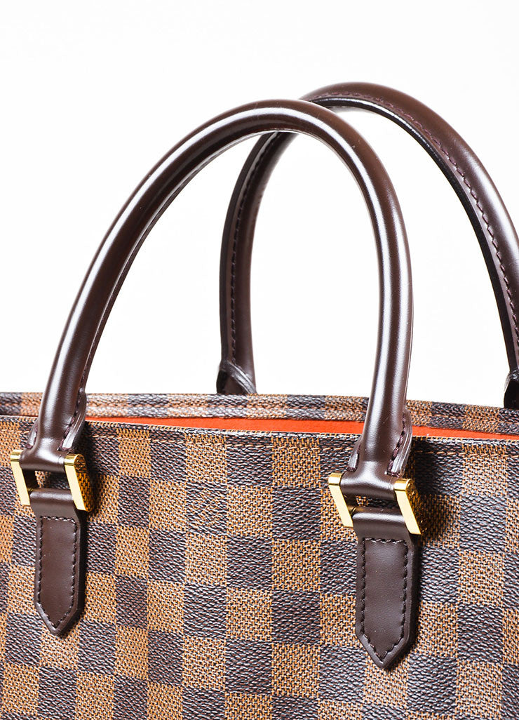 "Louis Vuitton ""Ebene"" Brown Coated Canvas Leather ""Damier Sac Plat NM"" Bag Detail 2"