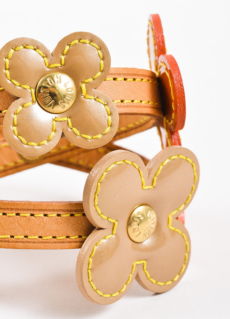 "Louis Vuitton Orange Tan Patent and Vachetta Leather ""Vernis Fleur"" Wrap Bracelet Detail"