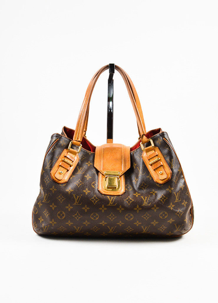 "Louis Vuitton Brown and Tan Coated Canvas Monogrammed ""Griet"" Tote Handbag Frontview"