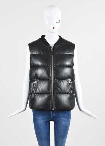 Mackage Black Leather Down Quilted Zip Up Sleeveless Puffer Vest Frontview 2