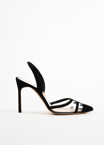 Black Manolo Blahnik Suede Pointed Toe Slingback Pumps Side