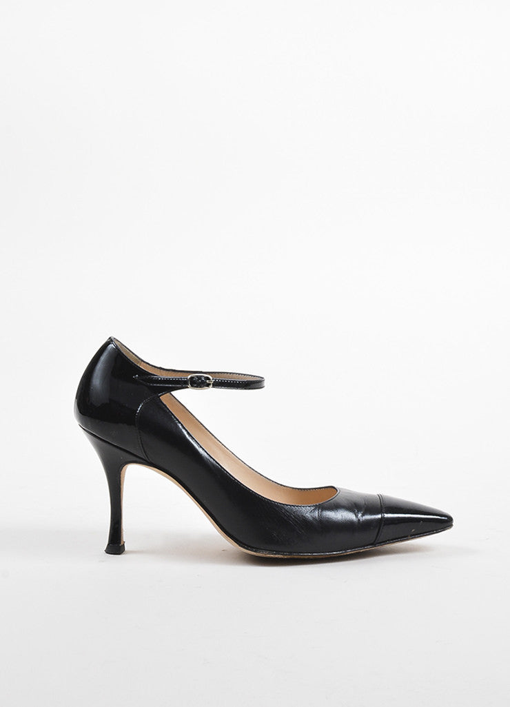 Manolo Blahnik Black Leather Patent Pointed Cap Toe Ankle Strap Pumps Sideview