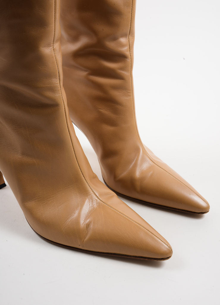 Manolo Blahnik Tan Leather Knee High Heeled Boots Detail