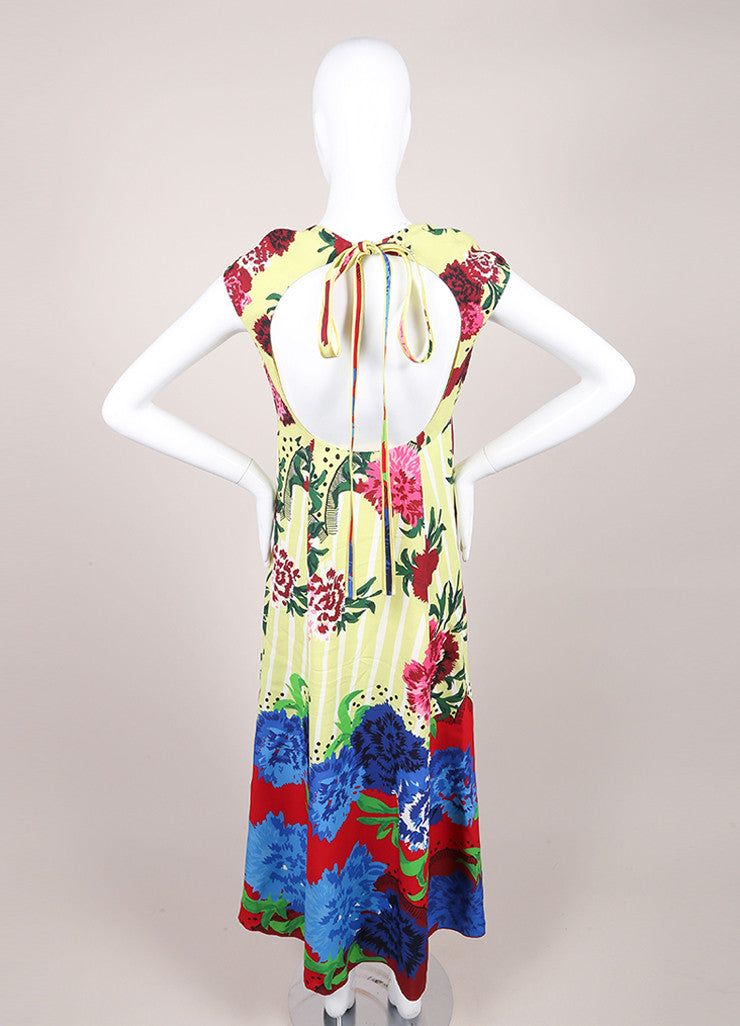 Marc Jacobs New With Tags Multicolor Floral Print Cap Sleeve Open Back Dress Backview