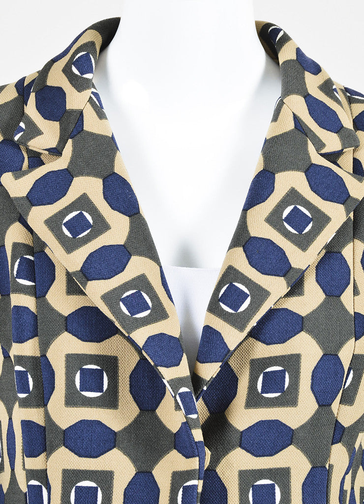 Tan, Green, and Blue Marni Woven Wool Geometric Print Three Button Long Coat Detail