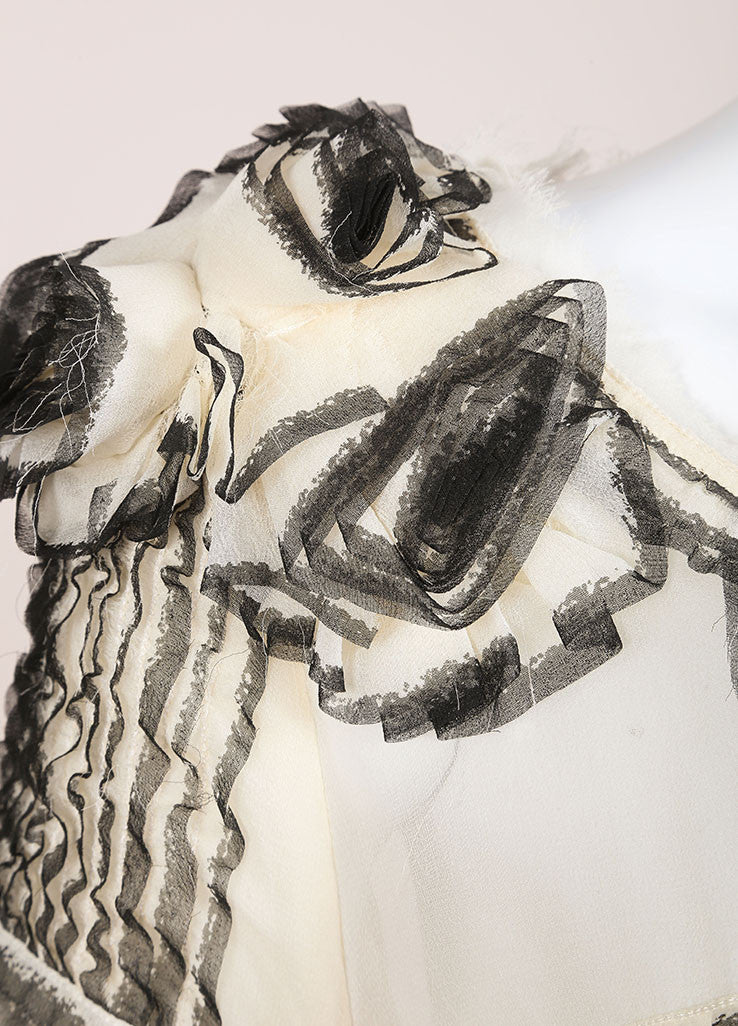 Maurizio Pecoraro Cream and Black Sheer Silk Long Sleeve Ruffle Blouse Detail