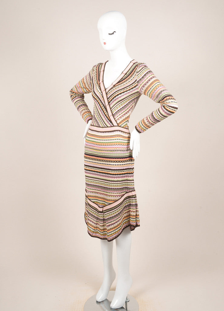 Missoni Multicolor Wool Blend Knit Long Sleeve A-Line Dress Sideview