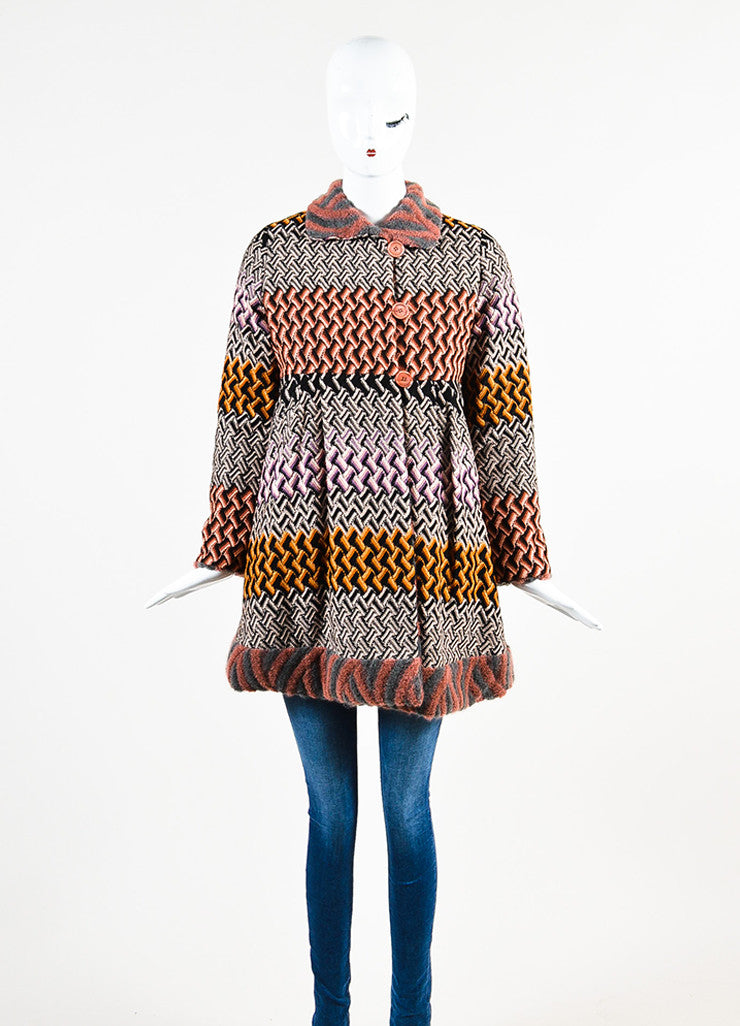 "Missoni Multicolor Crochet Knit Round Collar ""Cappotto"" Jacket  Frontview 2"