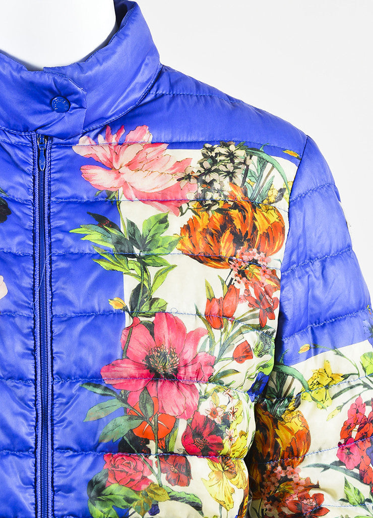 Moncler Blue and Multicolor Nylon Down Floral Print Puffer Jacket Detail