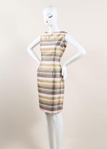 Nina Ricci Grey, Pink, and Multicolor Satin Knit Stripe Sleeveless Sheath Dress Sideview