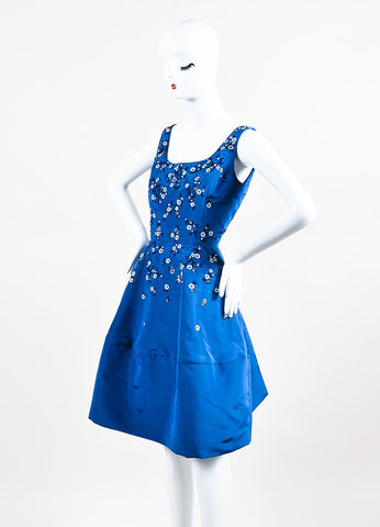 Oscar de la Renta Blue Silk Taffeta Floral Embellished A-Line Dress Sideview