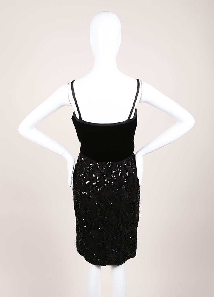 Oscar de la Renta Black Velvet Mesh Sequin Trim Sleeveless Cocktail Dress Backview