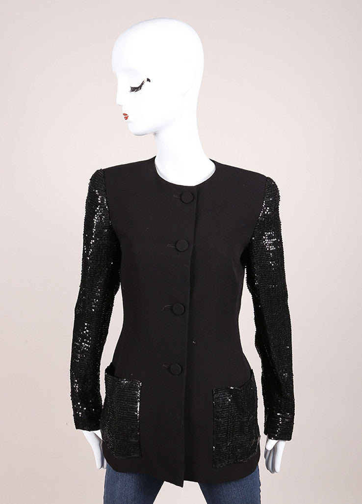 Oscar de la Renta Black Wool Blend Sequin Long Sleeve Jacket Frontview