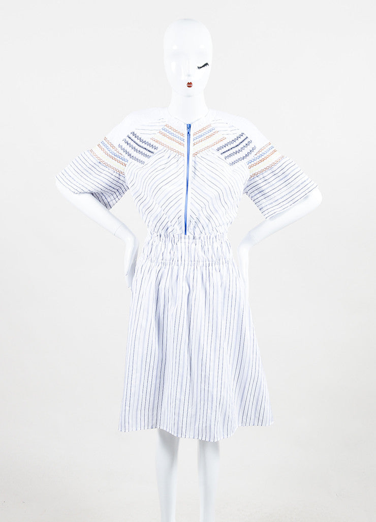 "Peter Pilotto White and Blue Cotton Stripe Smocked ""Step"" Short Sleeve Dress Frontview"