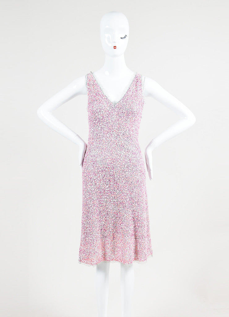 Philosophy Di Alberta Ferretti Pink and Silver Beaded Sleeveless Cocktail Dress Frontview