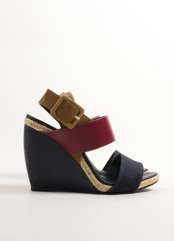 "Pierre Hardy Burgundy and Blue Leather and Denim ""BK58"" Sandal Wedges Sideview"