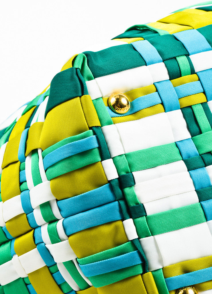 Prada Green, Teal, and White Tessuto Nylon Leather Trim Woven Tote Bag Detail