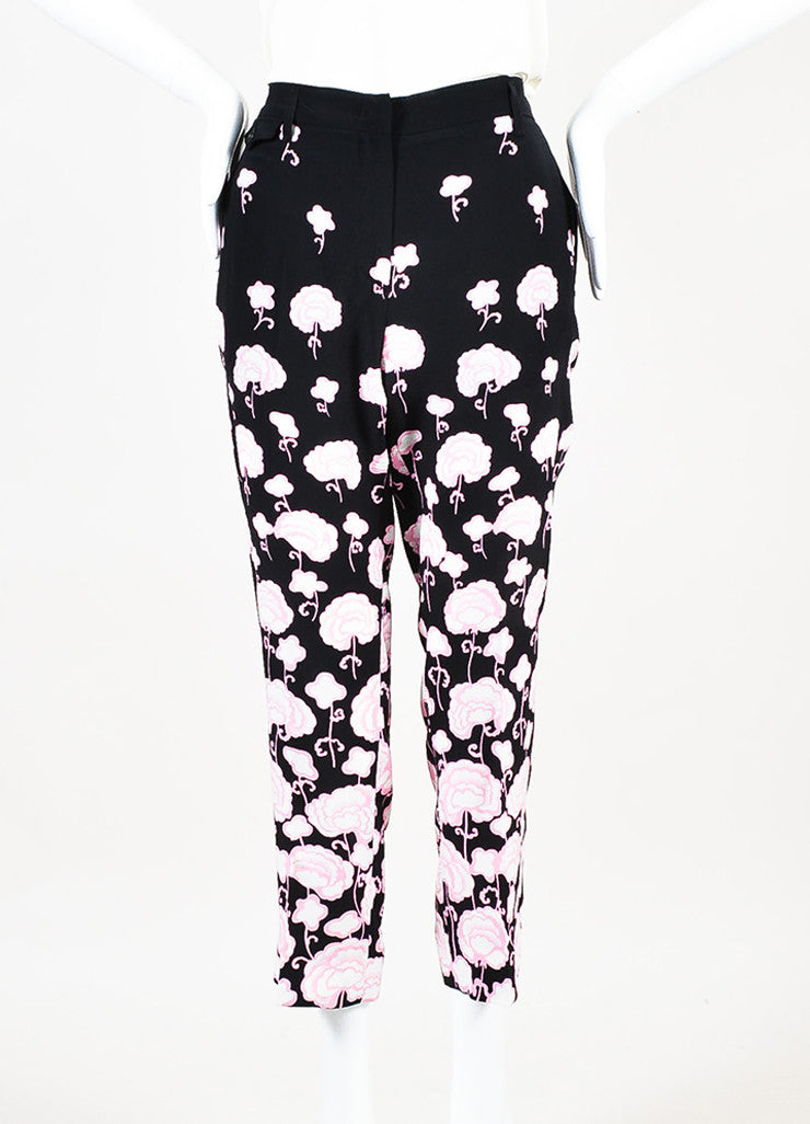 Prada Black and Pink Silk Floral Print Straight Leg Ankle Trouser Pants Frontview