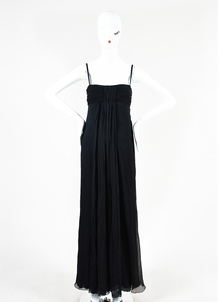 Prada Black Silk Crinkle Pleated Empire Waist Sleeveless Gown Frontview