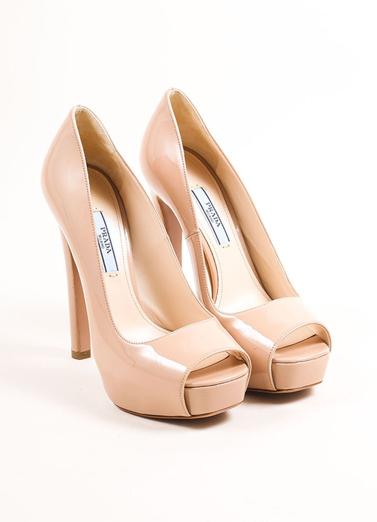 Prada Nude Patent Leather Square Peep Toe Pumps Frontview