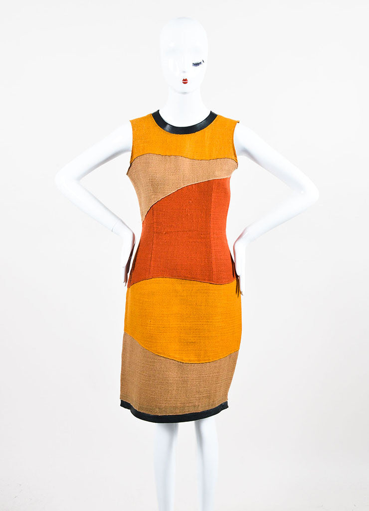 Proenza Schouler Yellow, Tan, and Rust Woven Wool Color Block Sleeveless Shift Dress Frontview