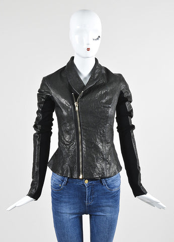 Black Rick Owens Leather and Knit Wool Paneled Zip Up Tailored Jacket Frontview 2