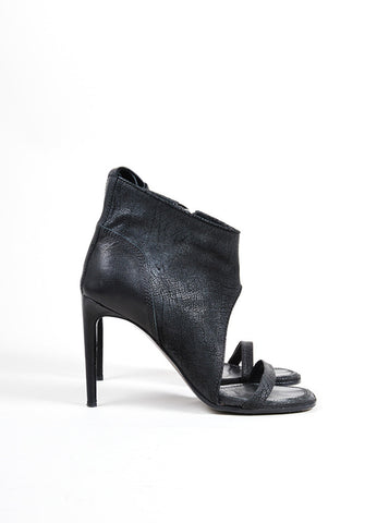 Rick Owens Black Leather Open Toe Heeled Booties Sideview