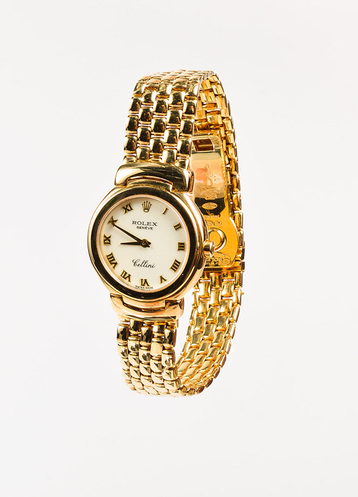 "Rolex 18K Yellow Gold ""Cellini"" Woven Bracelet Quartz Watch Sideview"
