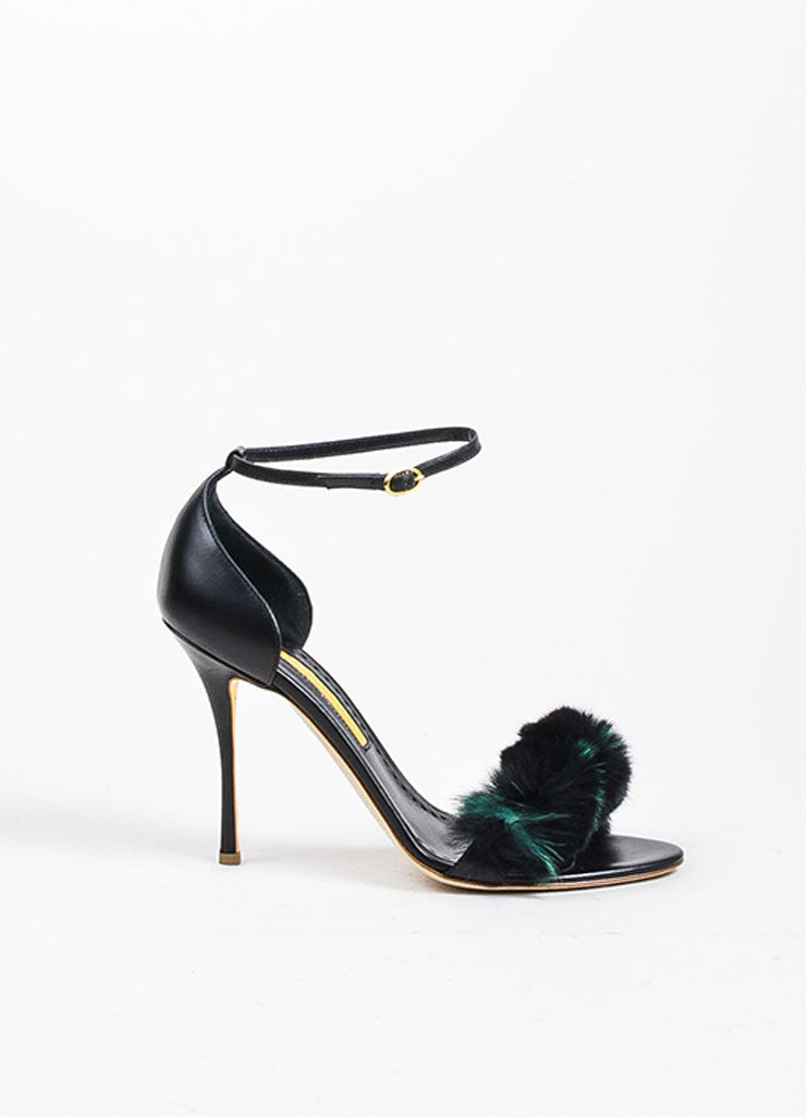 "Rupert Sanderson Black and Green Leather Fur ""Mikie"" Sandal Heels Sideview"