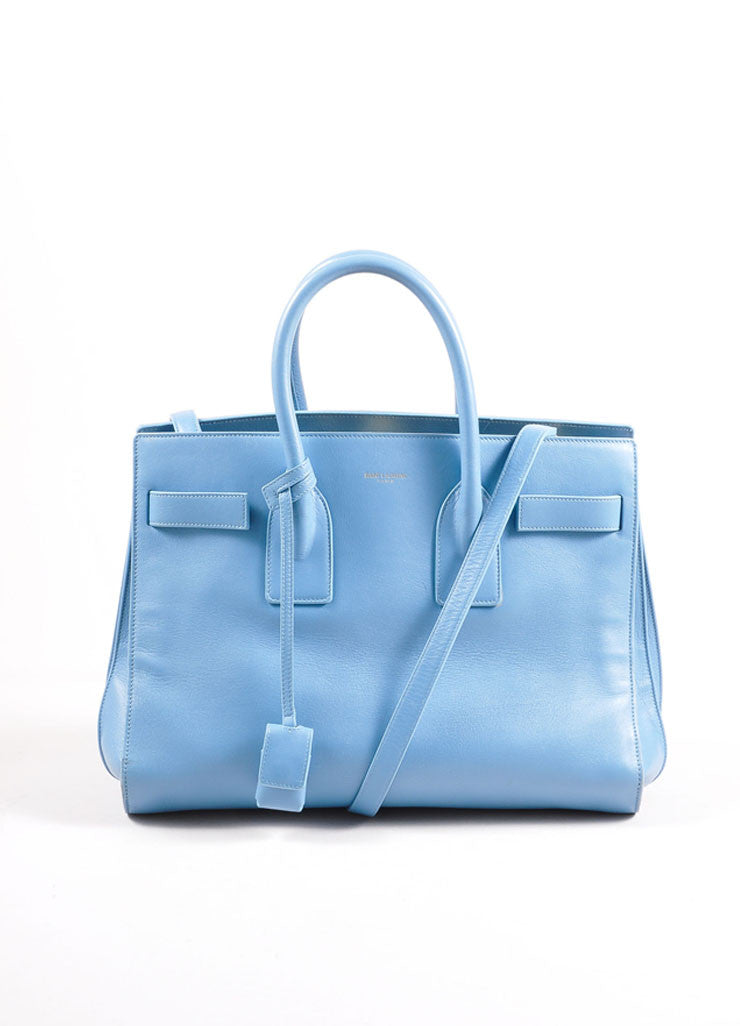"Saint Laurent Light Blue Leather ""Small Sac du Jour"" Satchel Handbag Frontview"