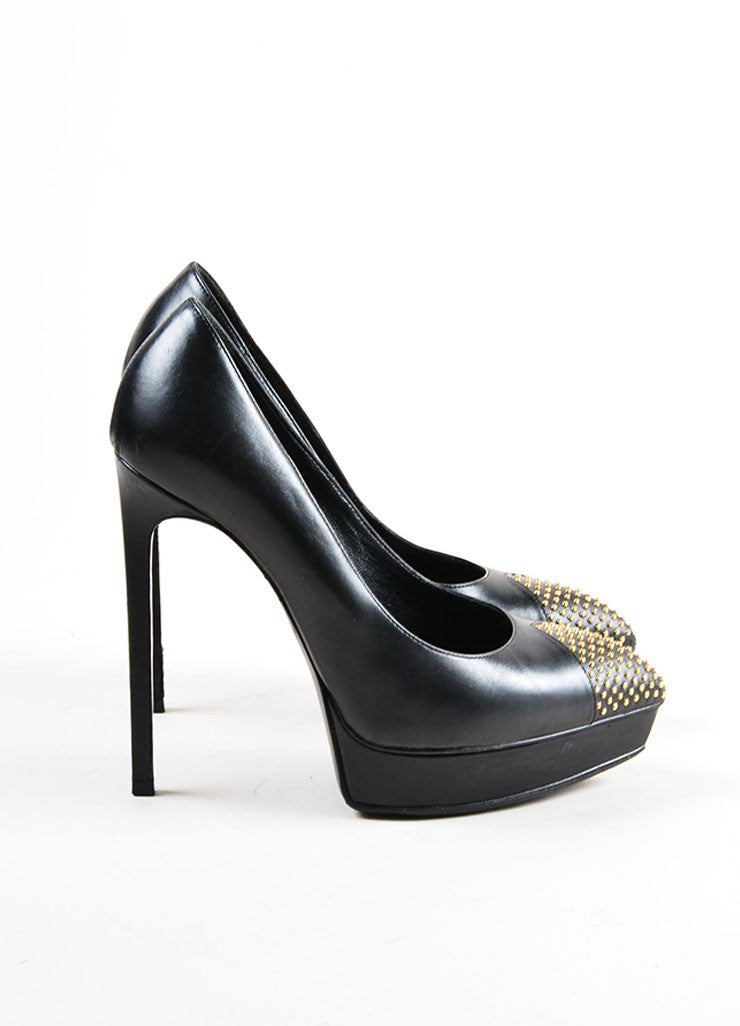 Black Leather Studded Cap Pointed Toe Saint Laurent Platform Heels Sideview