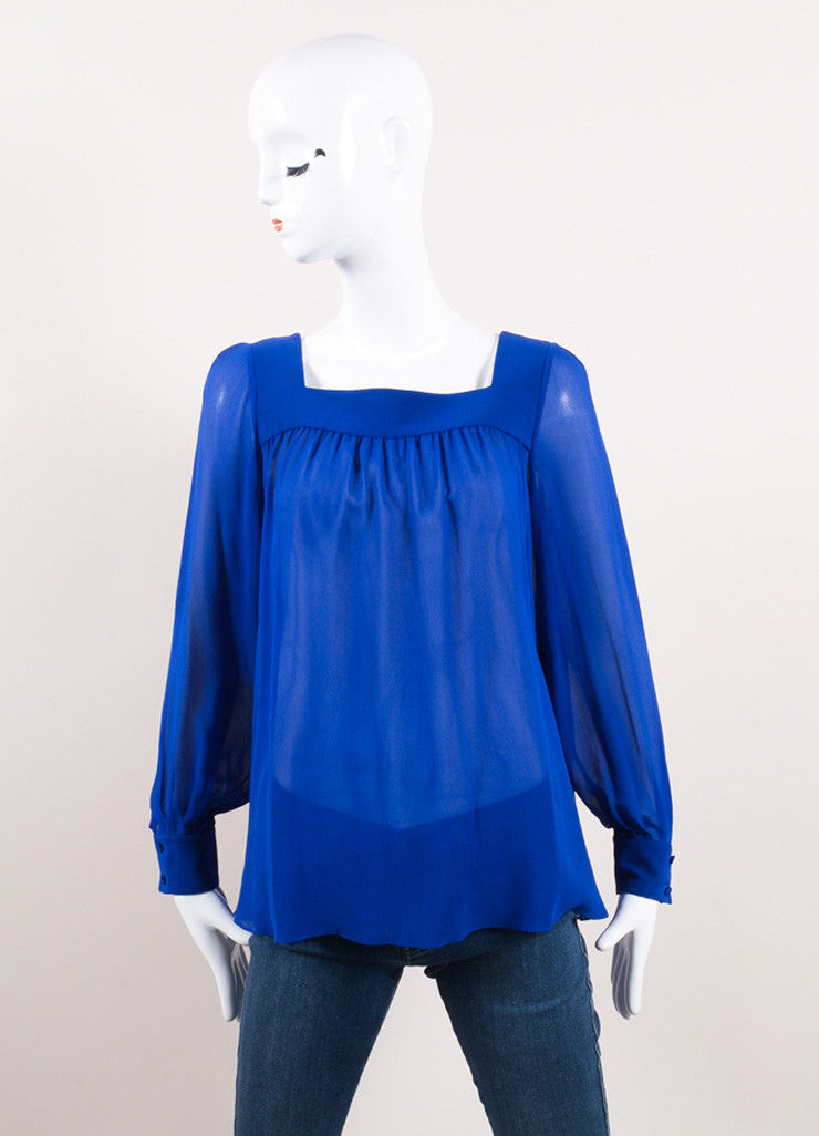 Saint Laurent Royal Blue Silk Square Neck Long Sleeve Sheer Blouse Frontview