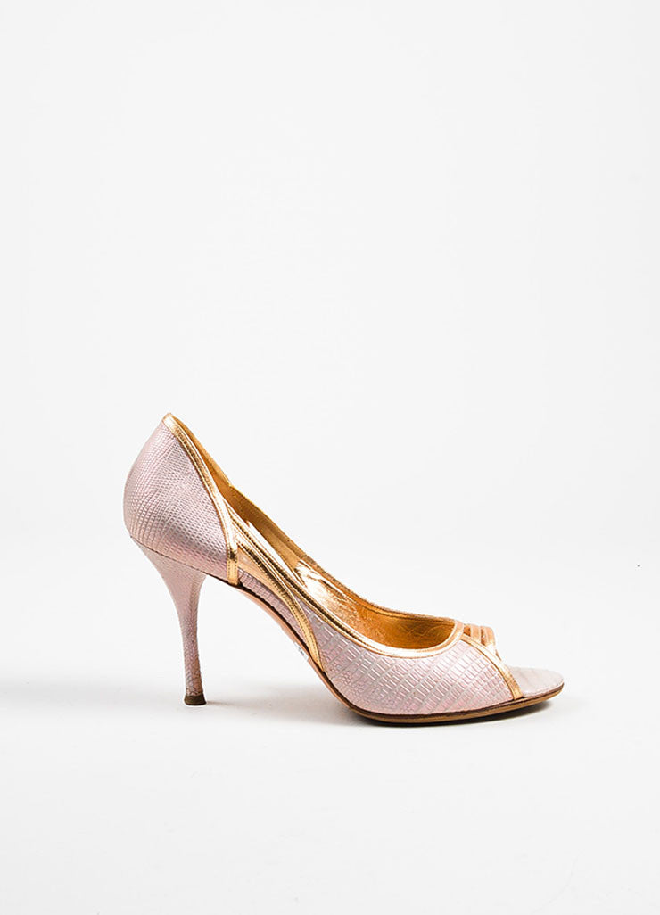 Sergio Rossi Pink Leather Snake Embossed Iridescent Peep Toe Pumps Sideview