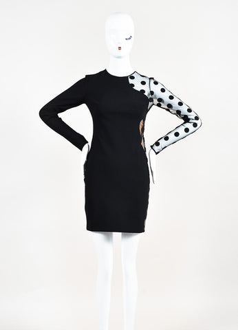 Black Stella McCartney Sheer Polka Dot Long Sleeve Sheath Dress Front