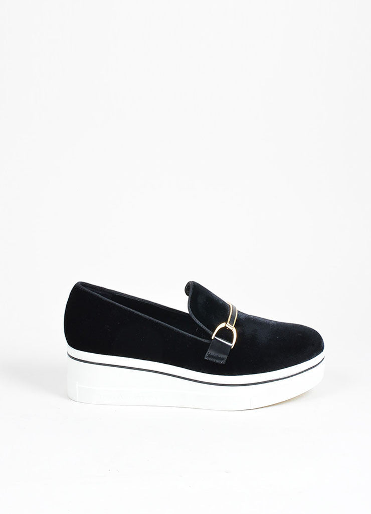"Black Stella McCartney Velvet ""Binx"" Horsebit Platform Loafers Sideview"