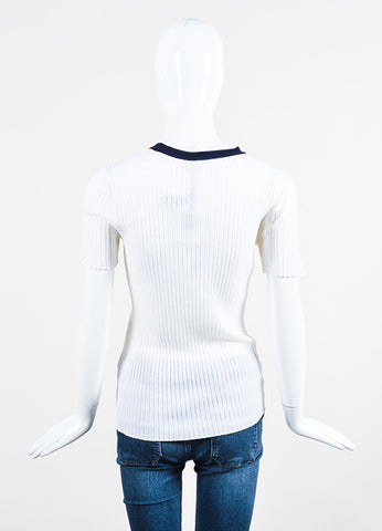 T by Alexander Wang White and Navy Merino Wool Ribbed Knit Short Sleeve Top Backview