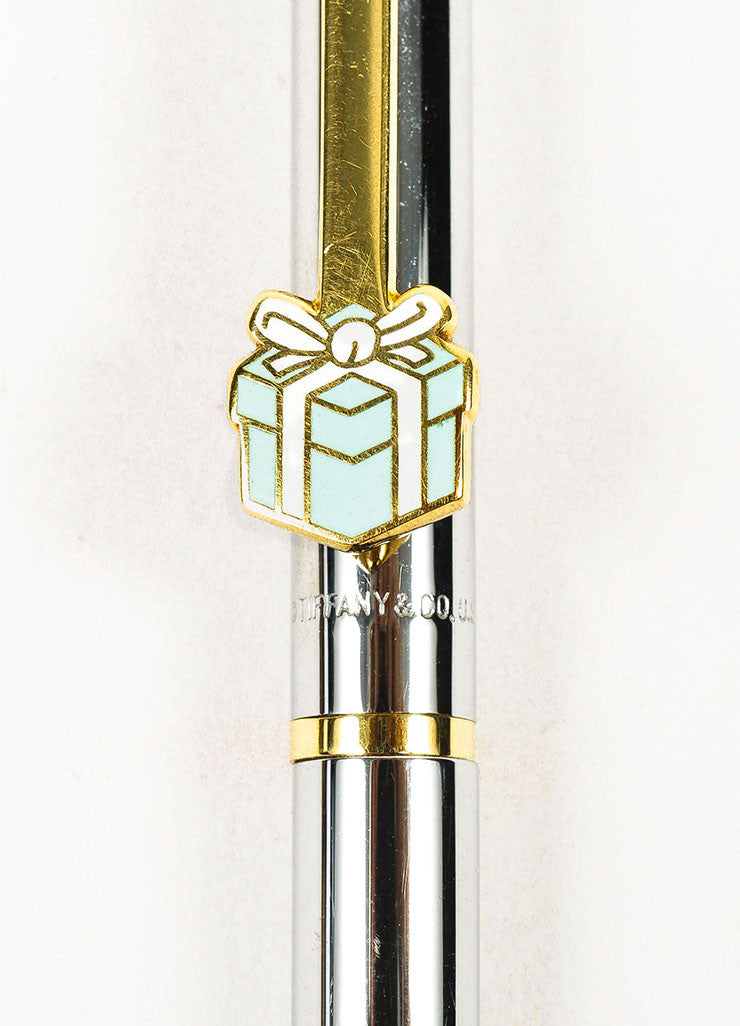 Silver and Gold Toned Tiffany & Co. Blue Enamel Present Ballpoint Pen Detail