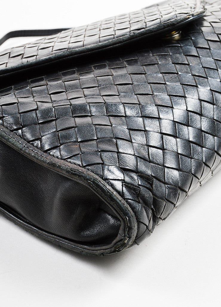 Bottega Veneta Black Woven Leather Shoulder Flap Bag Detail